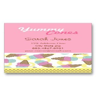 Retro Strawberry + Mint Ice Cream Business Cards