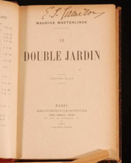 1911 Maurice Maeterlinck Le Double Jardin French