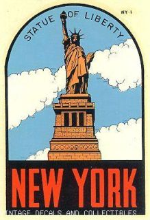 Statue of Liberty State Travel Decal Lindgren Turner Waterslide