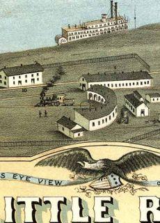 1871 Little Rock Arkansas Historic Panoramic Map 16x24