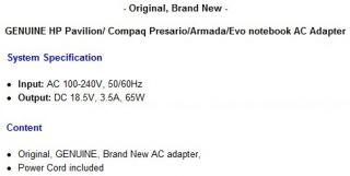 Genuine Compaq Presario 2200 Laptop Power Supply AC Adapter Cord Cable