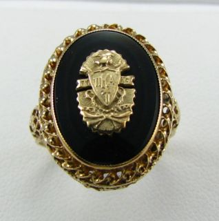 Pi Kappa Alpha Fraternity 10K Gold Onyx Crest Ring