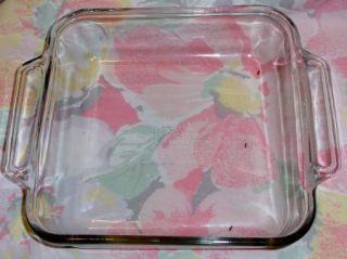 Vinage Anchor Hocking Glass Square Cake Pan Casserole Baking Dishd