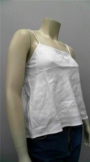Lino USA Curve Ladies Womens 14 Metallic Camisole Top White Studded