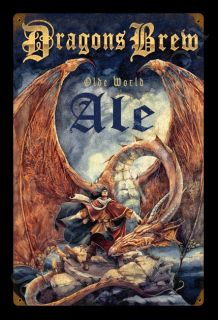 Dragons Brew Gary Lippincott New Vintage Tin Metal Sign Fantasy Free