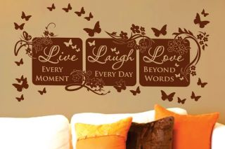 Vinyl Wall Decor Mural Quote Decal Live Laugh Love 64