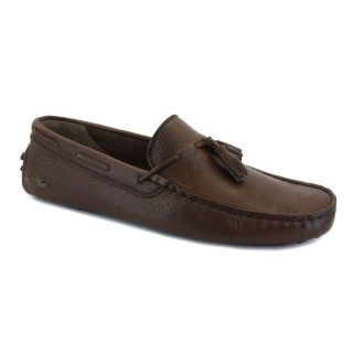 Lacoste Concours Tassle Mens Leather Loafers Dark Brown