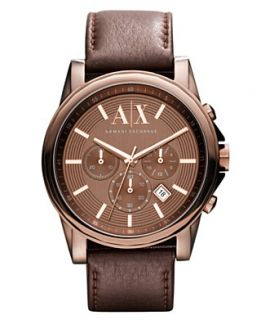 Armani Exchange Watch, Mens Chronograph Dark Brown Leather Strap