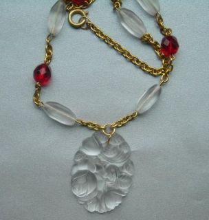 Lalique Style Frosted Glass Rose Flower Siam Red Bead Vintage Finds