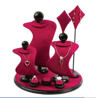 Piece Jewelers Burgundy Leather Display Set Necklace Pendant Earring