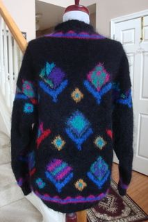 Mohair Wool Blend Fuzzy Hairy Mock Turtleneck Sweater M L