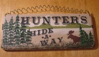 Hunting Moose Rustic Lodge Primitive Log Cabin Home Decor Wood Sign
