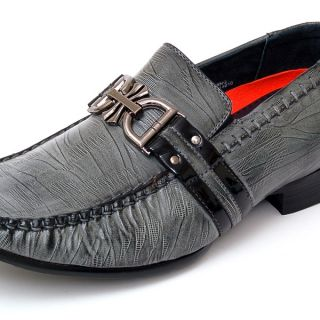 Mens Dress Shoes Slip on Buckle Loafers Leather Lined Black Gray White