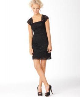 New Embellished Lace Square Neck Little Black Dress 10 BHFO