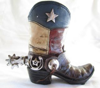 Western Small Ceramic Cowboy Boot Collectible Red White Blue Star