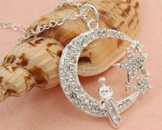 Bling Clear Moon Stars Crystals Lady Long Pendant Necklace