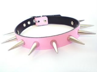 Spiked Leather Dog Collar Spike Black Pink Red Blue