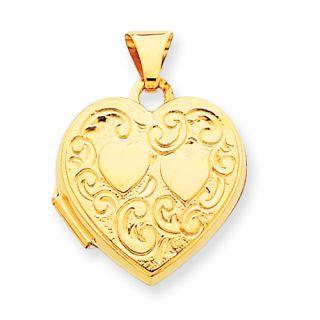 New Beautiful Polished 14k Yellow Gold not Engraveable Heart Locket
