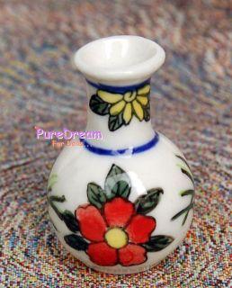 Little Neck Vase Porcelain Classical Pot Dollhouse Miniature OV039