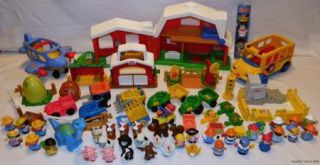 Lot Fisher Price Little People Farm Construction Dinosaur Figures