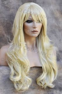 Human Hair Blend Wig Long Layered Wavy Curly Heat OK Bangs Pale Blonde