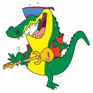 funny rock and roll crocodile music cartoon cut out