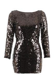 New Womens Long Sleeve Sequin Dress