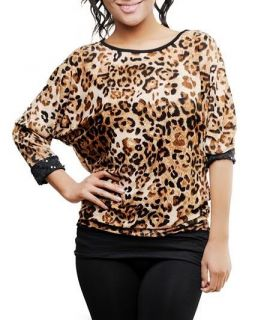 Long Sleeve Leopard Animal Print w Lace Sequin Cuffs Size L