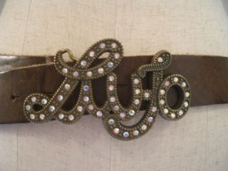 Perfect Bling Liu Jo of Italy Brown Logo Rhinestone Jewelled Leather