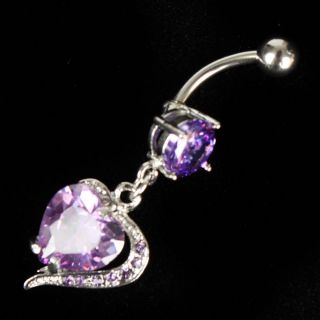 Cute Heart Dangle Long Crystal Navel Piercing Belly Button Ring