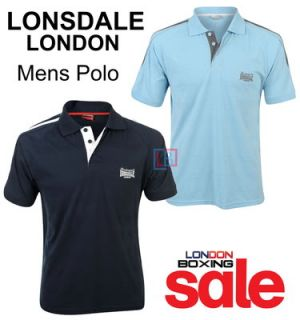 Lonsdale London Mens Blue 2 Stripe Smart Casual Polo T Shirt