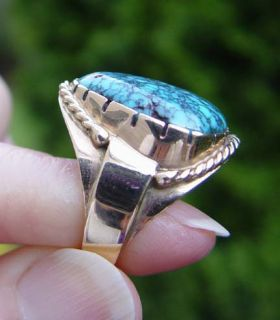 Lone Mountain High Grade Natural Spiderweb Turquoise Ring in 14k Gold