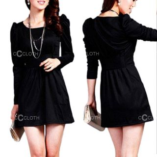 Red Ladies Vintage New Winter Work Party Long Sleeve Mini Dress