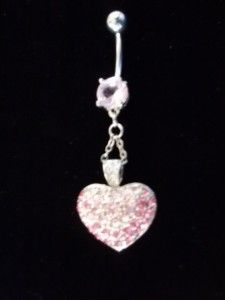 Pink Heart Belly Button Ring Jewelry Body Piercing