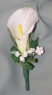 New White Calla Lily Boutonniere Bout Wedding Prom