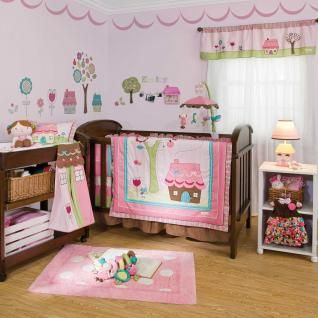 4pc Colorful Pink Floral Doll House Baby Girl Nursery Crib Bedding Set
