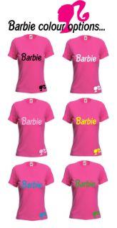 Ladies Fuschia Pink Barbie Logo Top T Shirt Size 6 14
