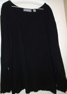 Liz Claiborne Classic Black Soft Long Sleeve Knit Top Shirt 3X