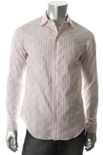 Armani New White Striped Long Sleeves Point Collar Button Down Shirt M