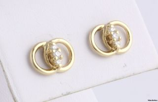 Double Loop Diamond Stud Earrings Pierced 14k Yellow Gold Estate Stick