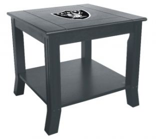 Raiders Side Table Wood End Table Black NFL Logo Night Stand