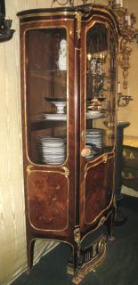 Antique French Louis XV Style Vitrine Display Cabinet