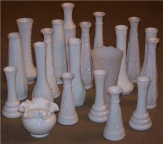 Lot of 20 Various White Milk Glass Vases