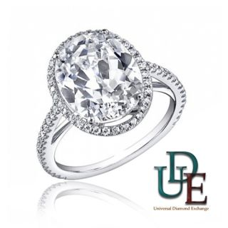 EGL Certified Diamond Engagement Ring 2.25 Ct Oval Shape Halo Design