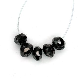 5pcs Genuine Natural Loose Black Diamond Beads Drilled Multi Faceted
