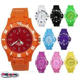 Summer Multi Colour Mens Lady Women Plastic Wrist Watch