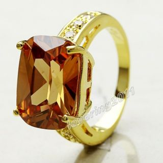 Brand New Jewellery Womens 18K Yellow Gold Filled 14ct Topaz Ring
