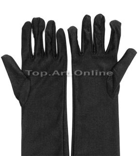 1pair Black Long Elbow Finger Gloves Mittens for Evening Party Wedding