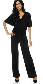 Colleen Lopez Faux Wrap Black Jumpsuit Wsash XS