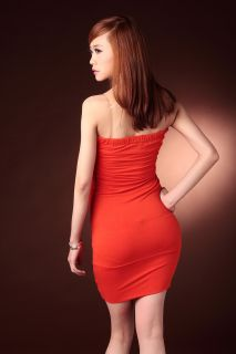 Sexy Cocktail Strapeless Low Cut Mini Dress D56 Red